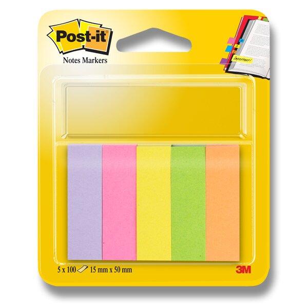 Značkovací samolepicí bloček 3M Post-it 670/5 papír, 15 x 50 mm, 100 listů, 5 barev
