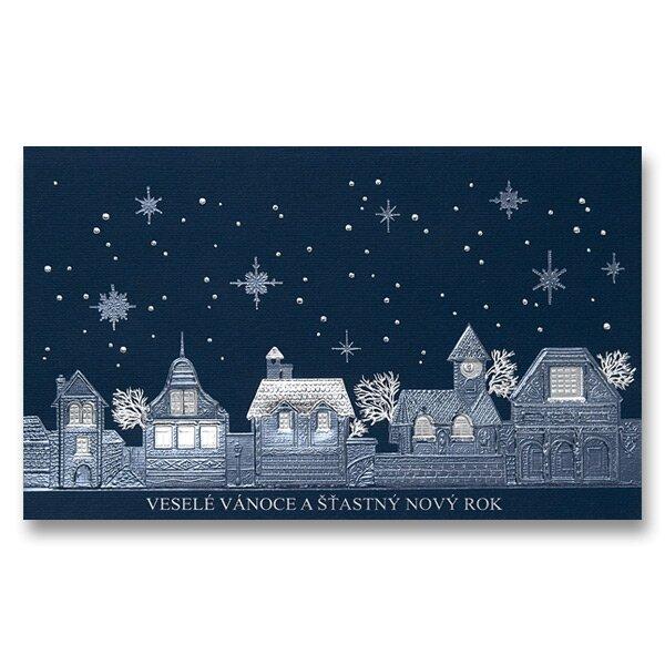 Vánoční otevírací přání perleťové včetně obálky, 19 x 11,5 cm