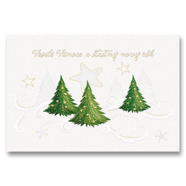 Vánoční otevírací přání stromky včetně obálky, 17 x 11,5 cm