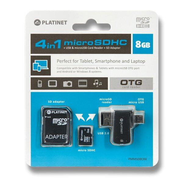 Sada 4 v 1 Micro SDHC Platinet 8 GB