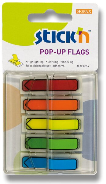 Samolepicí proužky Stick´n Pop-Up Flags šipky, 5 x 30 ks