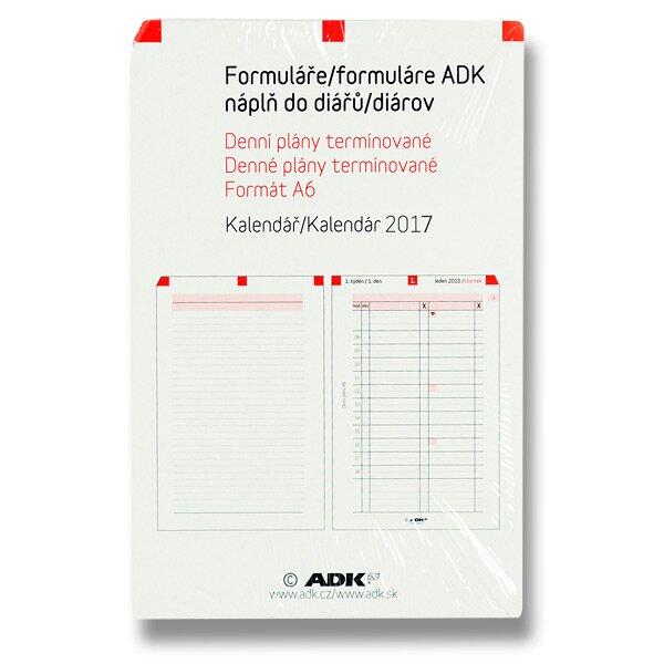 Denní plány termínované ADK 2017 náplň k A6 diářům ADK