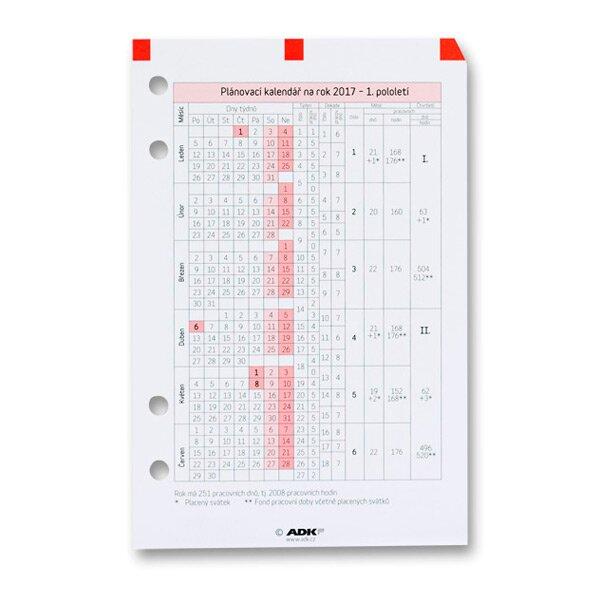 Plánovací kalendář ADK 2017 náplň k A6 diářům ADK