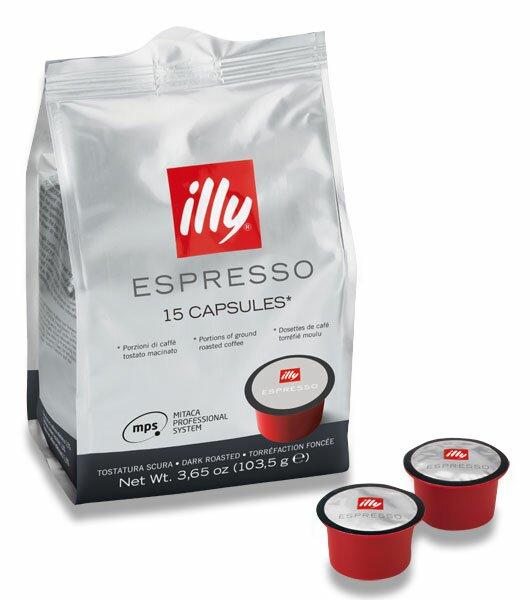 Kávové kapsle Illy MPS Dark roast espresso 15 kapslí
