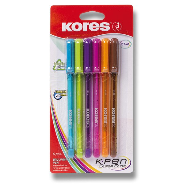 Kuličková tužka Kores K1 6 barev