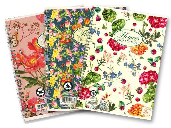 Kroužkový blok Pigna Nature Flowers A4, čtverečkovaný, 60 listů