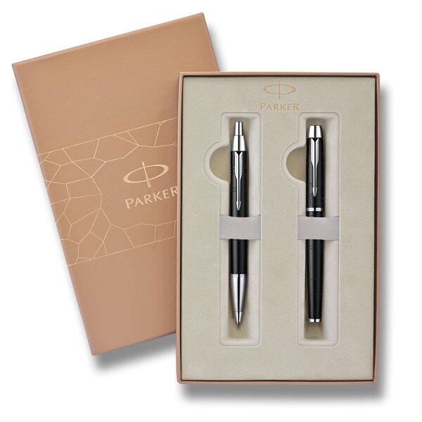 Parker IM Premium Matt Black sada plnícího pera a kuličkové tužky v dárkové kazetě