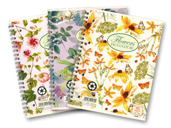 Kroužkový blok Pigna Nature Flowers A5, čtverečkovaný, 60 listů