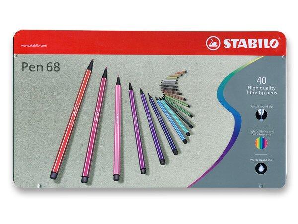 Fixy Stabilo Pen 68 40 barev v plechovém pouzdře