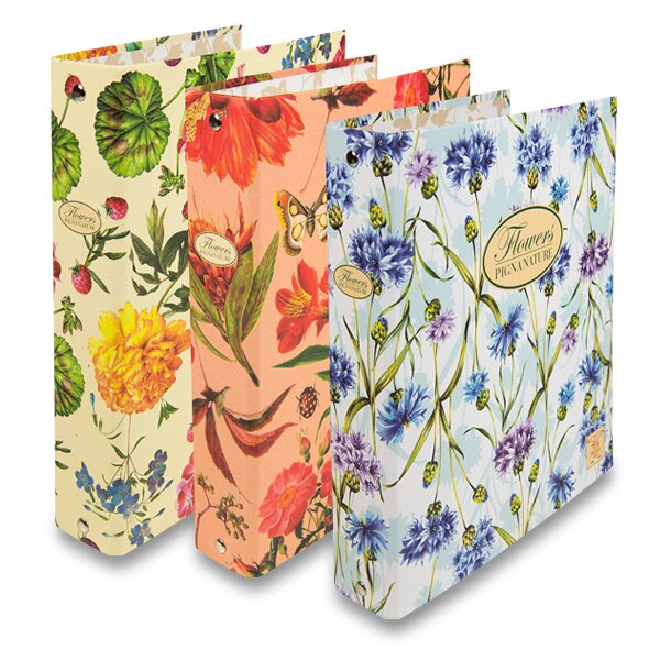 4-kroužkový pořadač Pigna Nature Flowers karton, A5, 35 mm, mix motivů