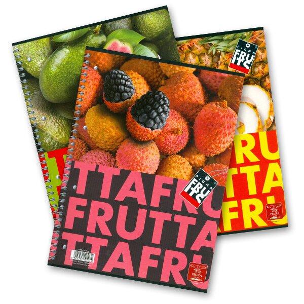Kroužkový blok Pigna Fruits - mix motivů A4, linkovaný, 80 listů