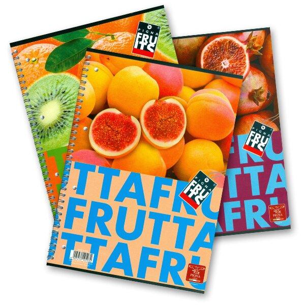 Kroužkový blok Pigna Fruits - mix motivů A5, linkovaný, 80 listů