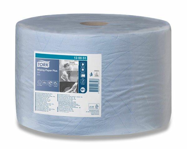 Papírové utěrky Tork Tork Wiping Paper Plus v roli 2 - vrstvé, návin 510 m, 1500 ks, modré