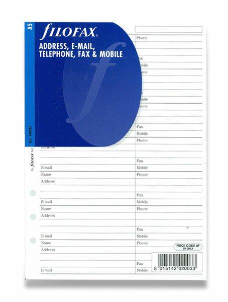 Osobní adresář náplň A5 k diářům Filofax