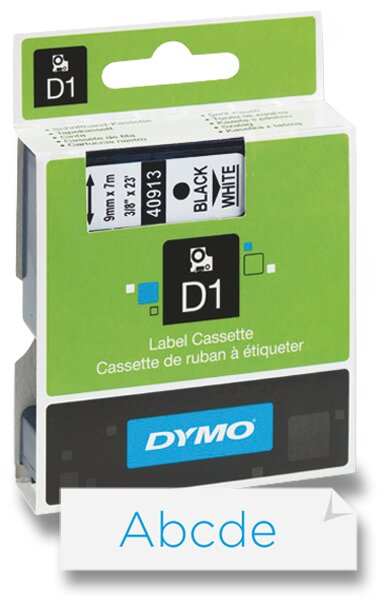 Polyesterová páska Dymo D1 9 mm x 7 m, modrý tisk / bílá páska