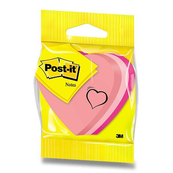 Samolepící boček ve tvaru srdce 3M Post-it 76 x 76 mm, 225 listů