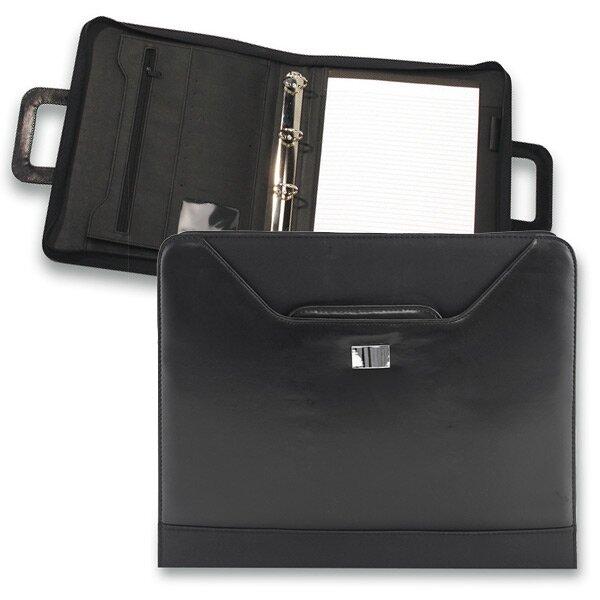 Portfolio z imitace kůže se zipem a rukojetí Ring 360 x 280 x 40 mm, černé