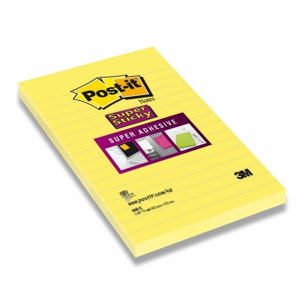 Samolepicí bloček 3M Post-it Super Sticky 660-S 102×152 mm, 75 listů, linkovaný