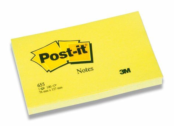 Žlutý samolepicí bloček 3M Post-it 655 127 x 76 mm, 100 listů