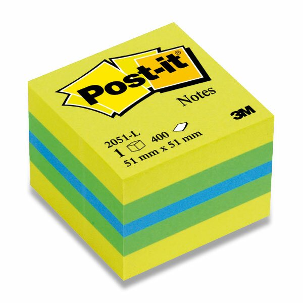 Samolepicí bloček 3M Post-it 2051L/2051P Duha 51 x 51 mm, 400 listů, citronový