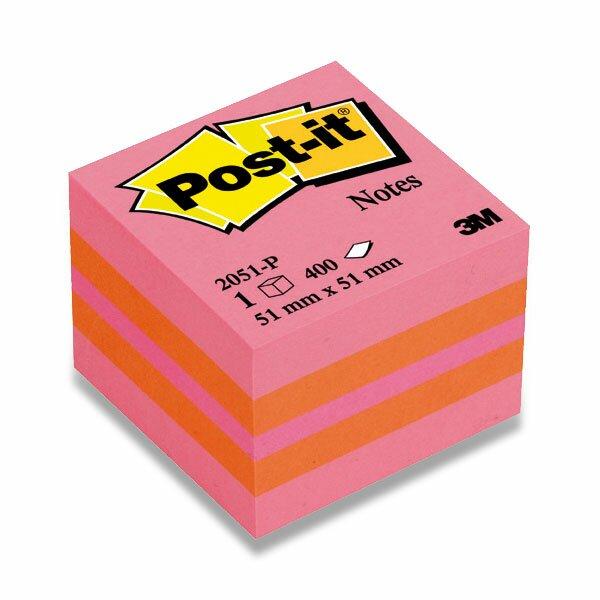 Samolepicí bloček 3M Post-it 2051L/2051P Duha 51 x 51 mm, 400 listů, růžový