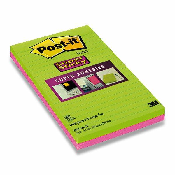 Samolepicí bloček 3M Post-it Super Sticky Super Adhesive 125 × 200 mm, 2x 45 l, linkovaný