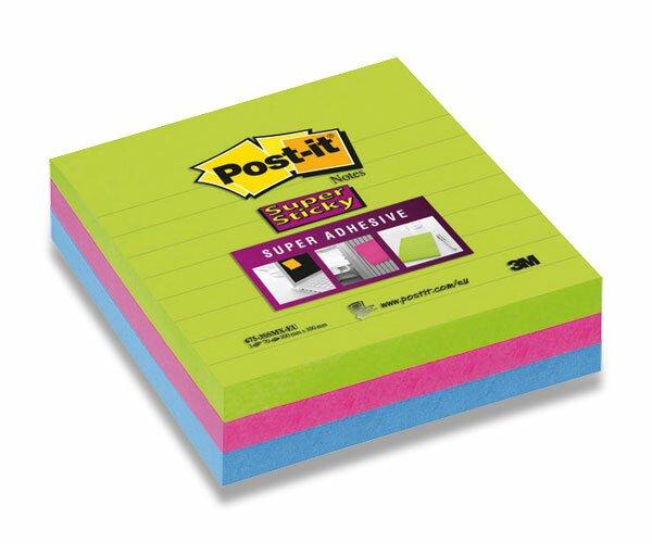 Samolepicí bloček 3M Post-it Super Sticky Super Adhesive 100 × 100 mm, 3x 70 listů