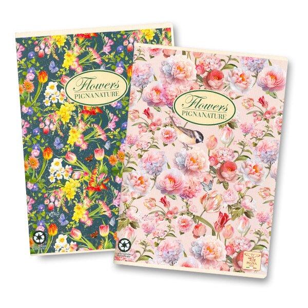 Kancelářský sešit Pigna Nature Flowers A4, 40 listů, čtverečkovaný
