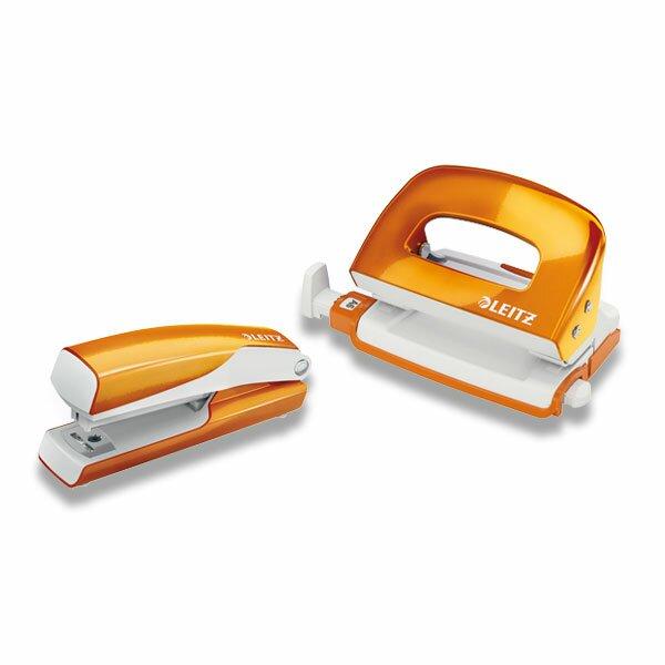 Kancelářská souprava Leitz Wow set sešívačka, děrovačka, oranžová