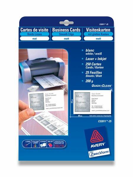 Vizitkový karton Avery Zweckform 200 g, 25 archů, hladký karton