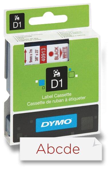 Polyesterová páska Dymo D1 9 mm x 7 m, červený tisk / bílá páska