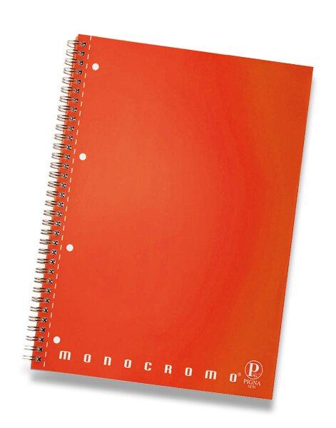 Kroužkový blok Pigna Monocromo - mix barev A4, linkovaný, 80 listů