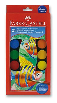 Obrázek produktu Vodové barvy Faber-Castell - 21 barev, průměr 30 mm