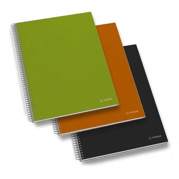Kroužkový blok Ambar Kraft - mix barev A4, čtverečkovaný, 150 listů