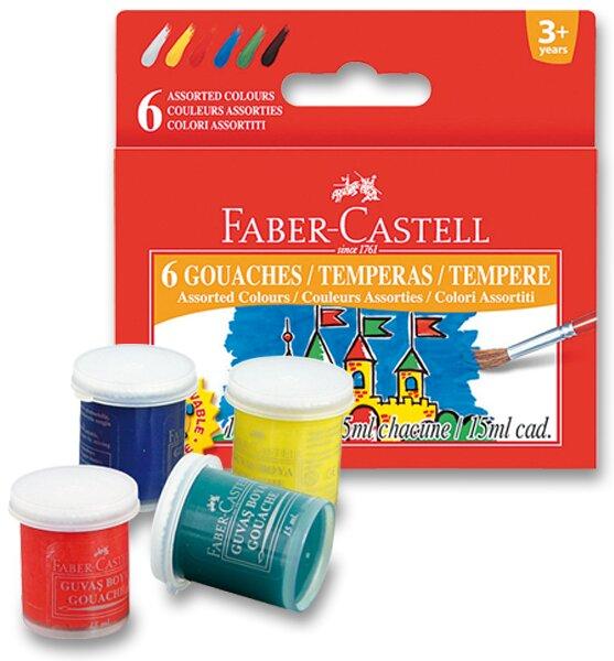 Temperové barvy Faber-Castell 6 barev, kelímek 15 ml