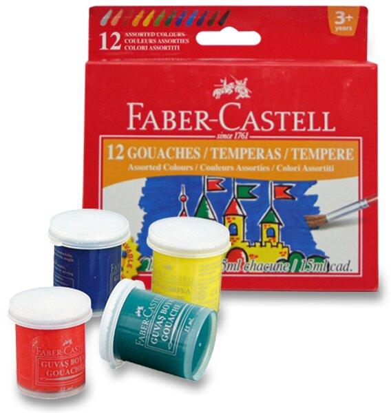 Temperové barvy Faber-Castell 12 barev, kelímek 15 ml