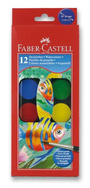 Vodové barvy Faber-Castell 12 barev, průměr 30 mm