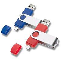 USB flash disk se dvěma konektory, velikost 4 GB, výběr barev