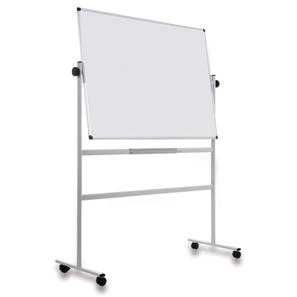 Oboustranná magnetická bílá tabule na stojanu 120 x 90 cm