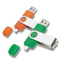 USB flash disk se dvěma konektory, velikost 8 GB, výběr barev