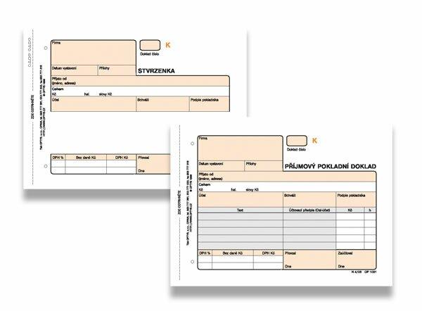 Příjmový pokladní doklad Optys OPT1081 A6, samopropis, čislovaný