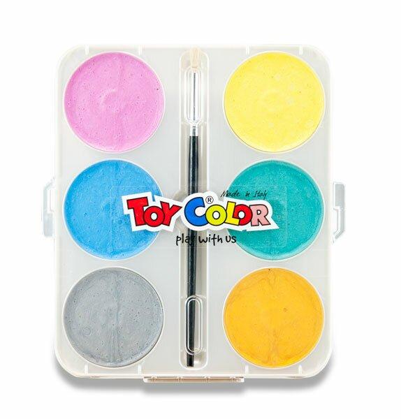 Vodové barvy Toy Color Maxi Pearly 6 barev, průměr 57 mm