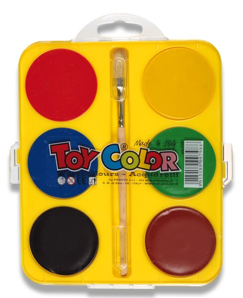 Vodové barvy Toy Color Maxi 6 barev, průměr 57 mm
