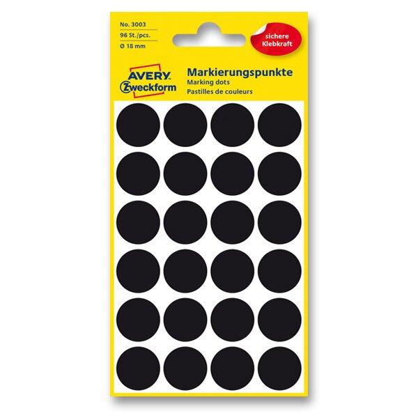 Kulaté etikety Avery Zweckform černé