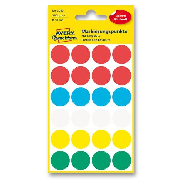 Kulaté etikety Avery Zweckform mix barev