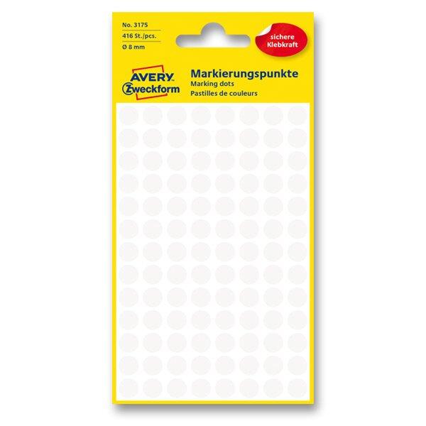 Kulaté etikety Avery Zweckform bílé