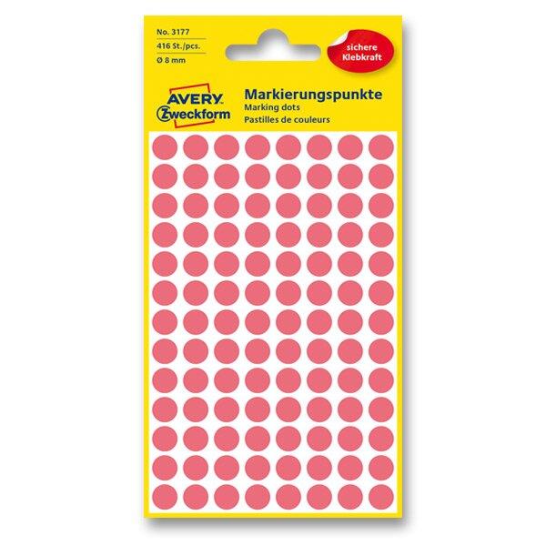 Kulaté etikety Avery Zweckform červené neon