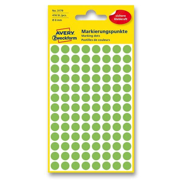 Kulaté etikety Avery Zweckform zelené neon