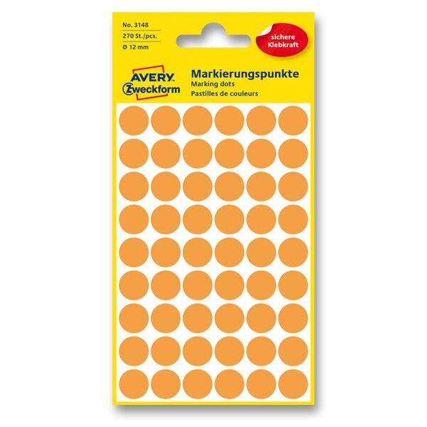 Kulaté etikety Avery Zweckform oranžové neon