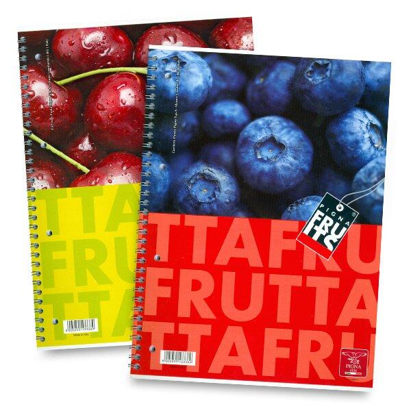 Kroužkový blok Pigna Fruits - mix motivů A4, čistý, 80 listů